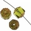 Fire polished Lanterns 8mm Olivine/gold Strung Coated Ends